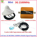 LCD Gold Mini W-CDMA 2100mhz Mobile Phone Signal Booster UMTS 3G Signal Repeater Amplifier With Yagi Antenna / Ceiling Antenna