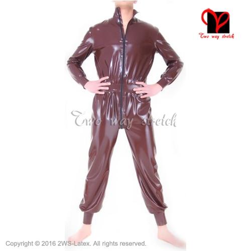 Sexy Brown Wide Latex Catsuit Rubber Body Suit Zentai Gummi Unitard long sleeves front zip overall