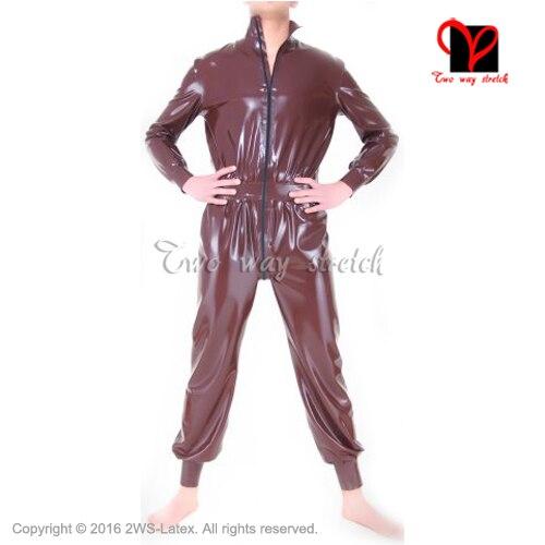 Sexy Marrone Larga Lattice di Gomma Catsuit Corpo Suit Zentai Gummi Unitard maniche lunghe zip frontale complessiva narrow polsini LT-114