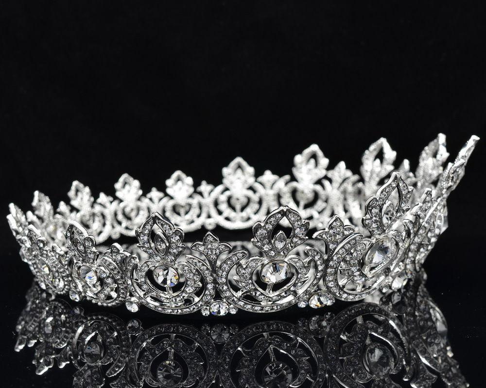 Brand New Flower Tiara Crown Head Pieces Rhinestone Womens Prom