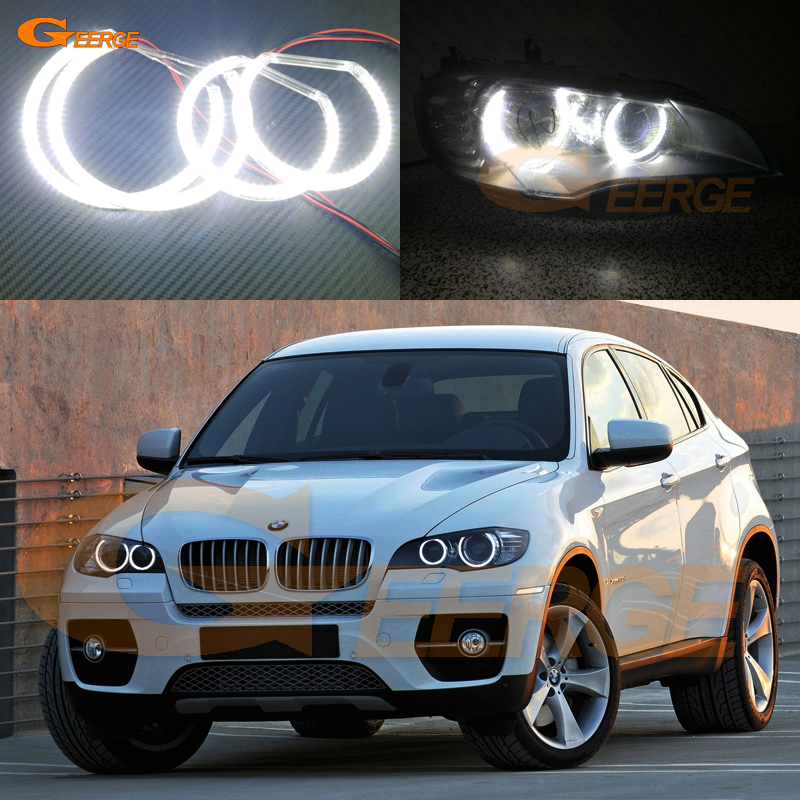 For BMW X6 E71 E72 X6M E70 X5M 2008-2014 Xenon headlight Excellent Ultra bright illumination smd led Angel Eyes kit halo ring carbon fiber car rear bumper extension lip spoiler diffuser for bmw x6 e71 e72 2008 2014 xdrive 35i 50i black frp