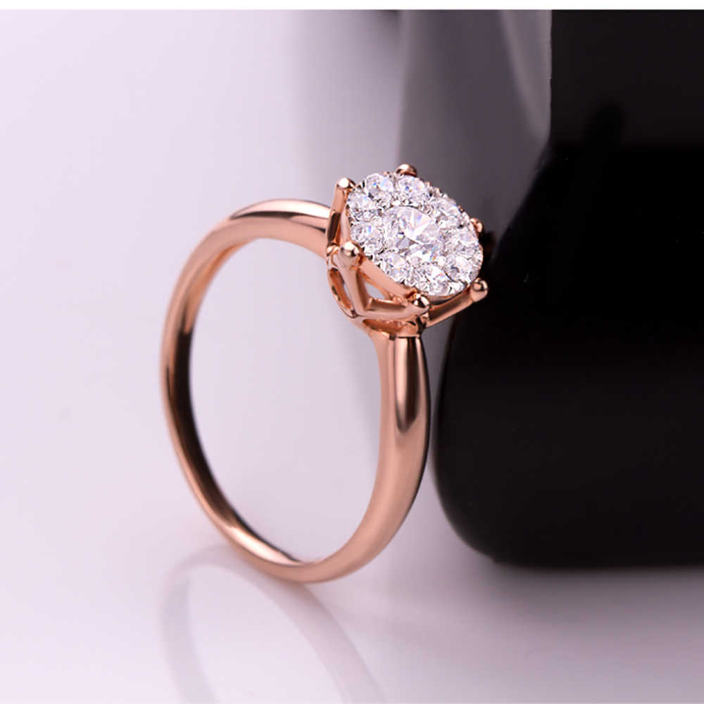 5a5b247876ce8 0.6CT effect SI/H Diamond Engagement Rings 18kt Rose Gold Promise Ring Fine  Jewelry Wedding/Engagement Round ring