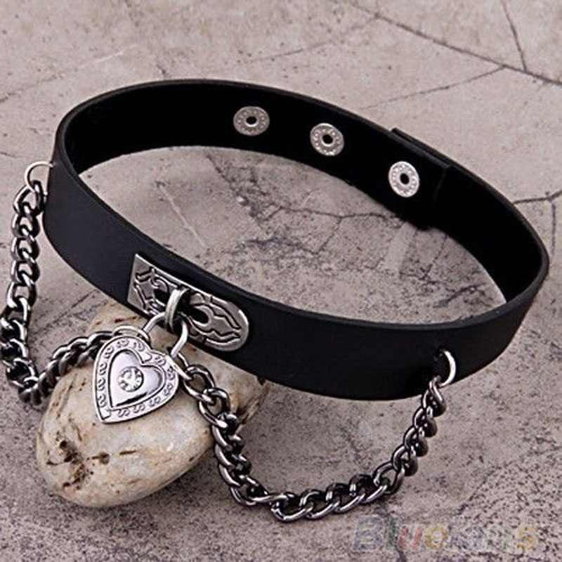 Fashion 1 PCS Women Girls Punk Heart Dangle Pendant  Choker Chain Goth Leather Necklace Collar Choker New Arrival ras de cou
