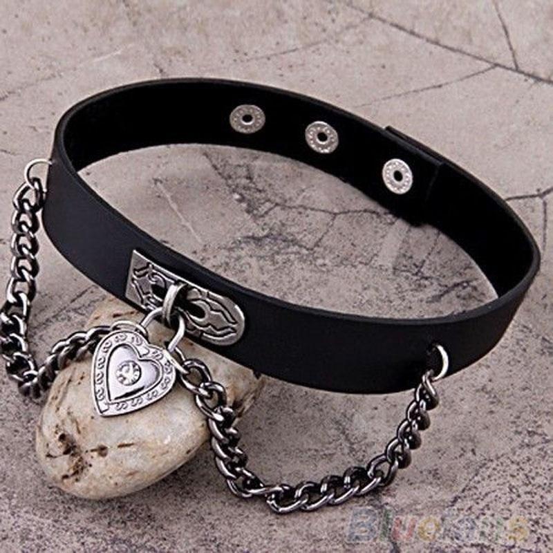Fashion 1 PCS Women Girls Punk Heart Dangle Pendant Choker Chain Goth Leather Necklace Collar Choker New Arrival ras de cou