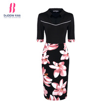 Vintage Pencil Dress Women Flowers Patchwork Half Sleeve Floral Print Knee Length Bodycon Dress Bubblekiss
