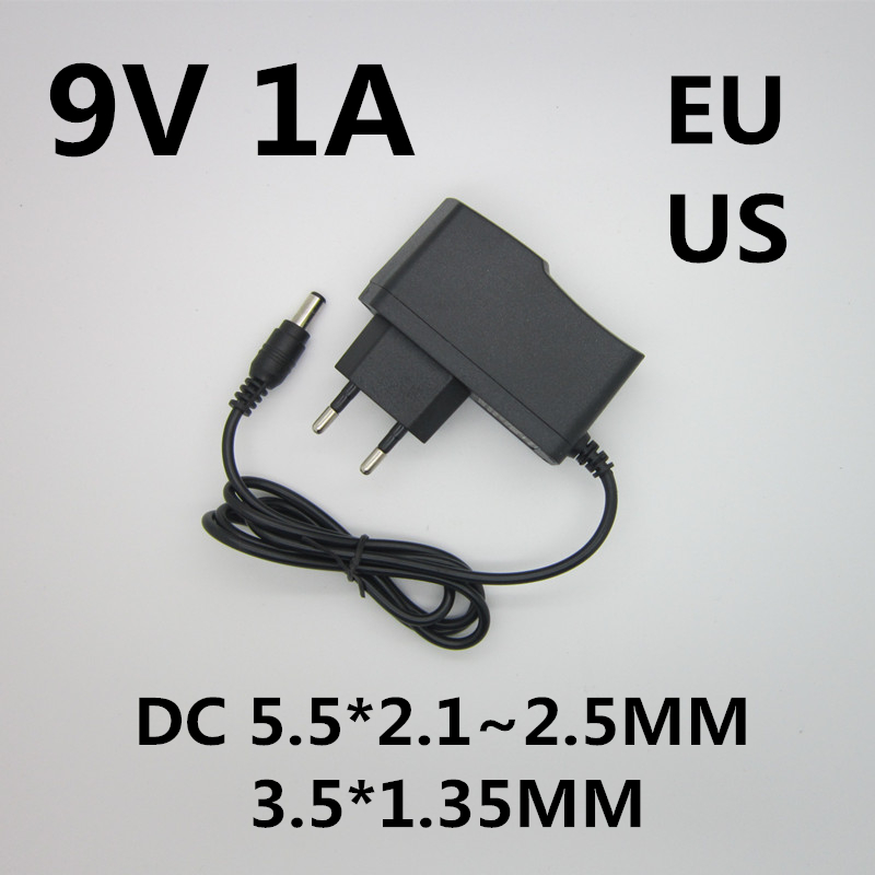 1PCS DC 9V1A 9V 1A Power Supply AC 100V-240V Converter Adapter EU Plug Charger 5.5mm x 2.1mm-2.5mm 1000mA for arduino Diy Kit kingwei 1pcs dc 16 8v 1a ac 100v 240v converter switching power adapter supply eu us uk plug charger for 18650 lithium battery