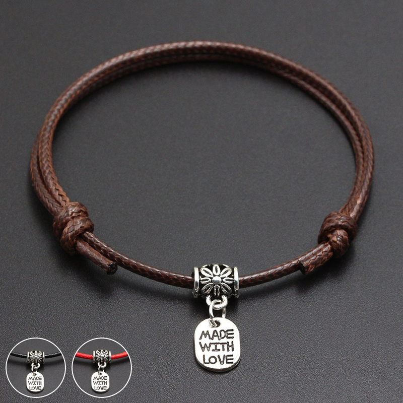 2020 New Made With Love Pendant Red Thread String Bracelet Lucky Black Coffee Handmade Rope Bracelet for Women Men Jewelry