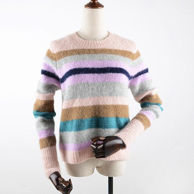 Chandail Automne Manteau Bande Couleur D'hiver Nouveau Mode Et 2018 Polaire Multi Pulls Femmes De 5xAqwt1