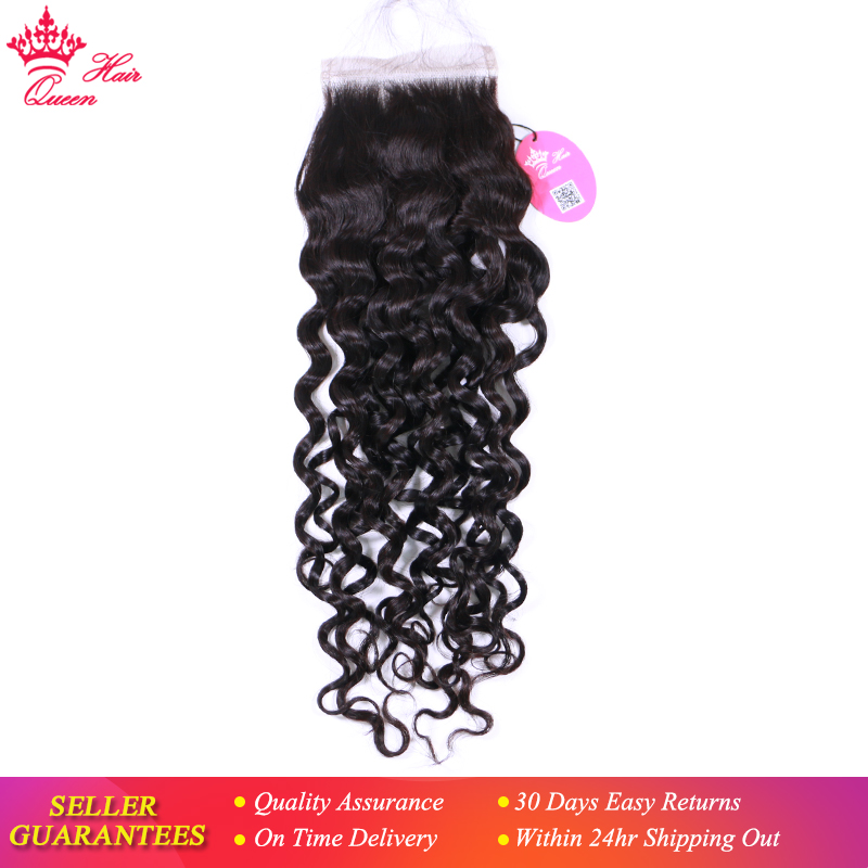 Queen Hair Products Lace Closure Brazilian Virgin Hair Water Wave Natural Color 100 Human Hair Free