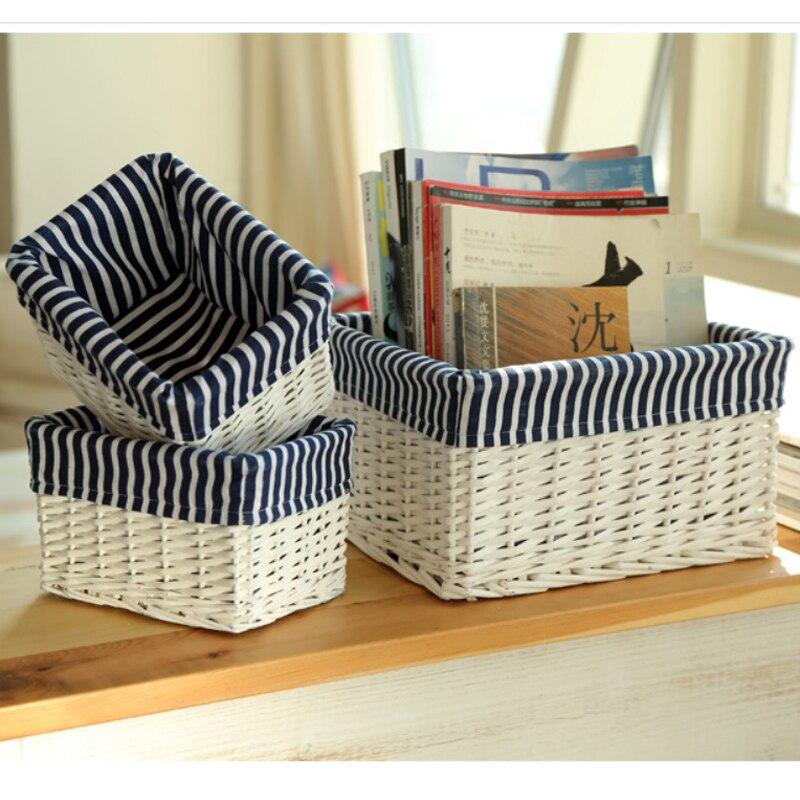 White Wicker Books Basket Cosmetic Storage Box Crafts Tins House Keeper  Furnishing Decorative Reto Desktop Sundries Organizer In Storage Baskets  From Home ...
