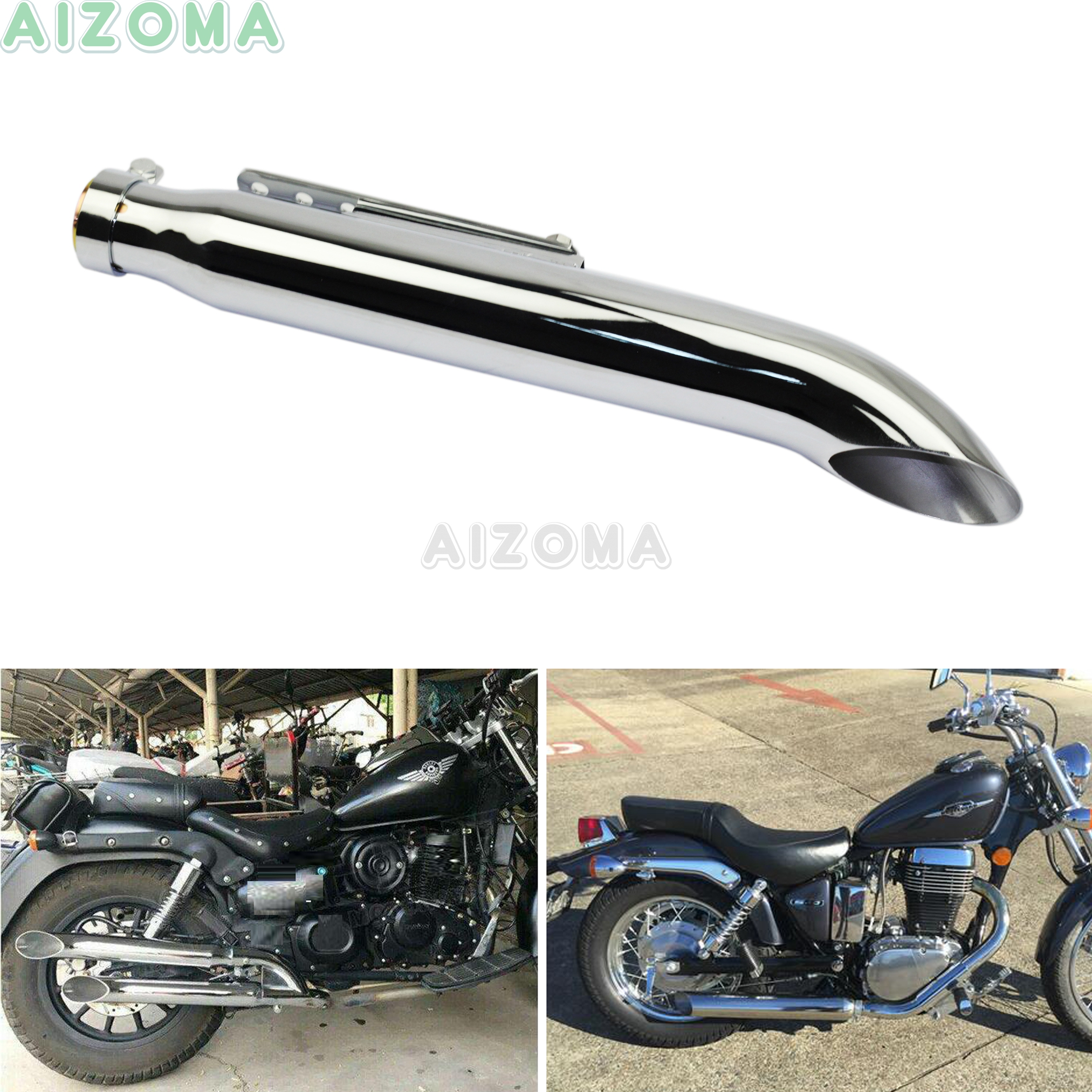 Motorcycle Turn Out Exhaust Muffler Pipe Tapered Silencer Slash Cut for Harley Honda Cafe Racer Suzuki