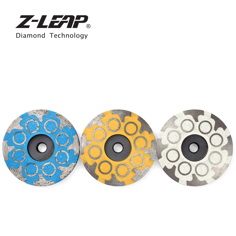 Z-LEAP 3pcs 4 Metal Bond Diamond Grinding Disc Abrasive Tool Resin Filled Flat Grinding Wheel For Concrete Marble Granite