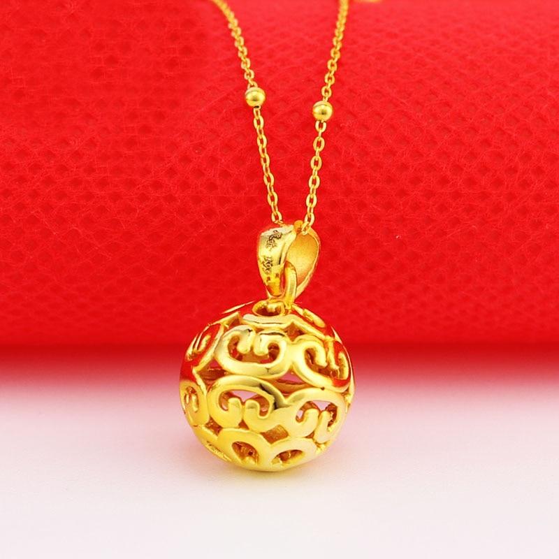 24 K or jaune pendentif 3D 999 or jaune creux collier pendentif P6224 - 4