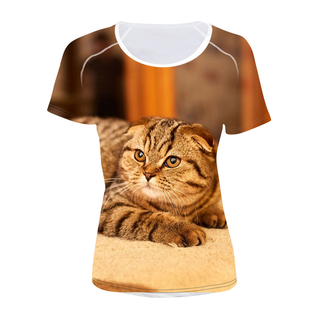 3D Printed T-Shirts Cute Scottish Fold Cat Short Sleeve Tops Tees