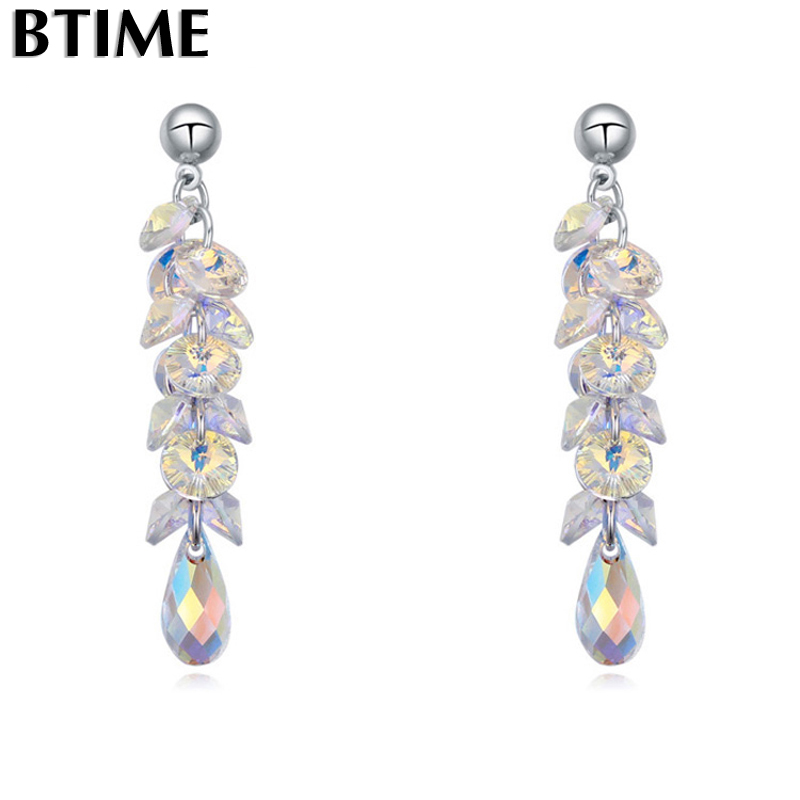 Btime Vintage Tear Drop Dangle Earrings for Charm Pendant Earring Women Jewelry Accessories Crystals From Swarovski