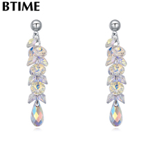 Btime Винтаж Tear Drop Висячие серьги для очарование кулон, серьги женские аксессуары и украшения кристаллами от Swarovski