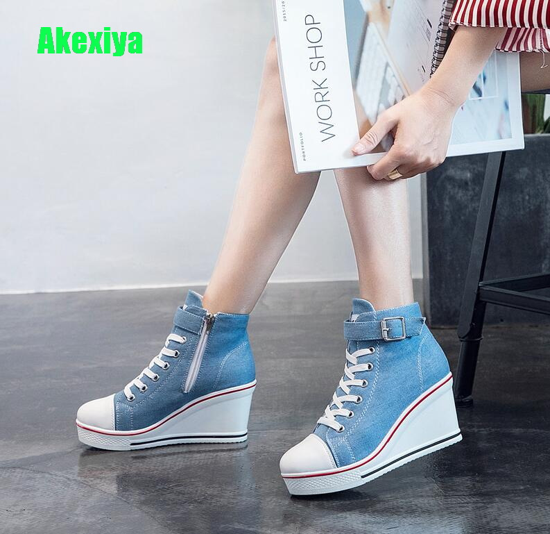 Casual Shoes Platform Sneakers Woman Wedges Plus Size Breathable Female Canvas