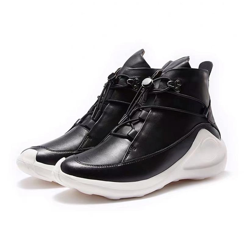 Delivr/черные мужские кроссовки унисекс; Вулканизированная обувь на толстой подошве; Masculino Adulto; Мужская обувь из натуральной кожи; формальная Мода 2019 года - 3