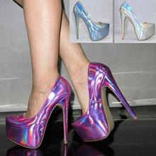Free Shipping Fashion Laser Wild Sexy Shallow Mouth Women Shoes Platform DJ Dancing Ultra High Heels Women Pumps 16cm