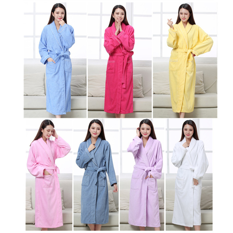 All Seasons Cotton Terry Couples Bathrobes Women Robe Men el Bathrobe Soft Breathable Absorbent Sleepwear