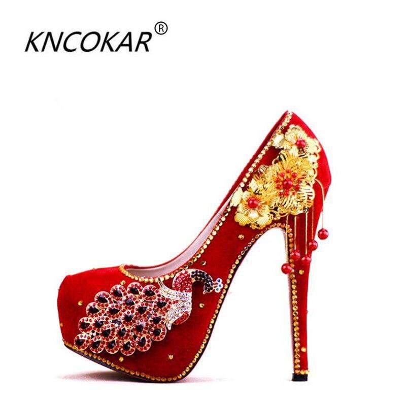 KNCOKAR2018 à la mode nouveau style chinois xiui robe femme rouge talon haut cristal chaussure mariée chaussures de mariage