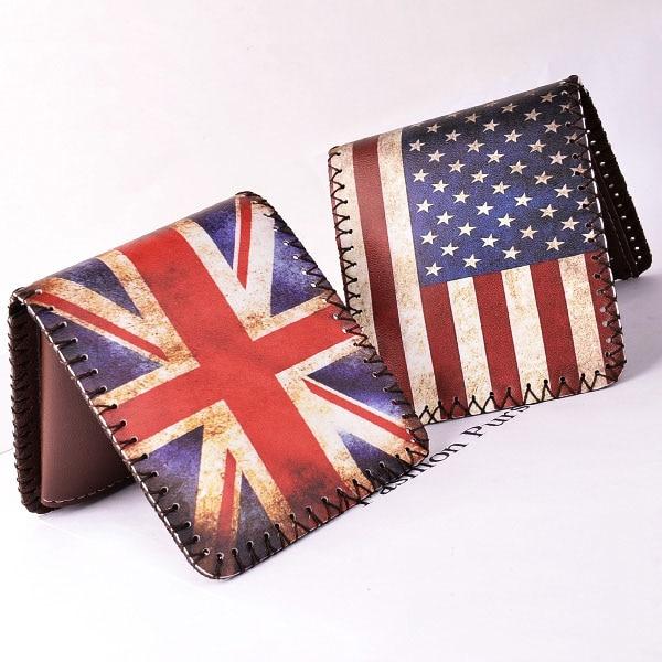 Women Men Wallets Short Purses Cards ID Holder English American Flag Pattern Wallet Burse Clutch Purse Bags Carteira Feminina