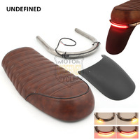 Motorcycle Seat Sets Brown Flat Custom Vintage Saddle Cafe Racer Seat for Honda CB160 CB500 CL100 GN UNDEFINED