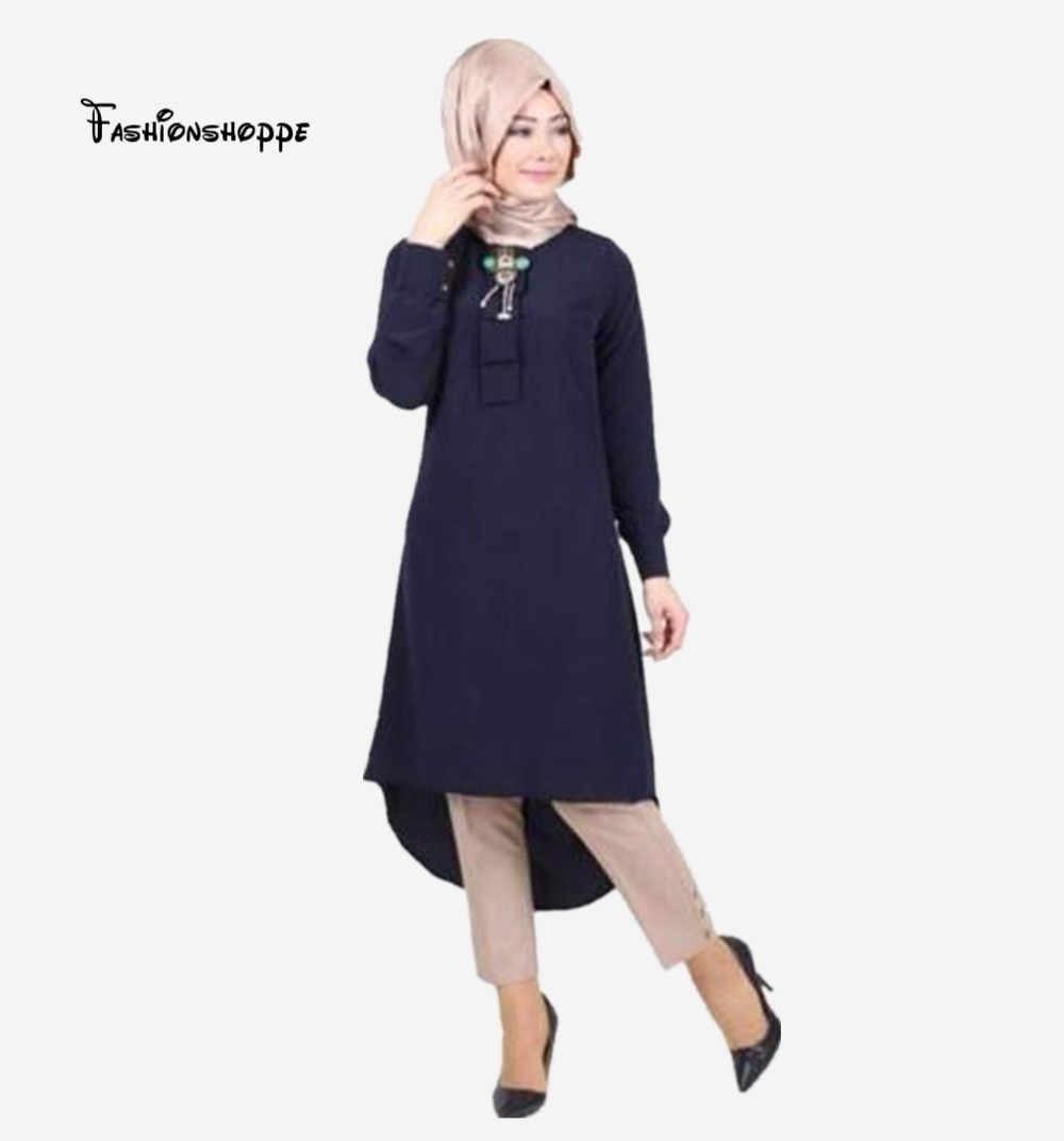 Moda feminina senhora muçulmano solto t camisa superior vestido islâmico manga longa talão maxi curto kaftan abaya árabe roupas