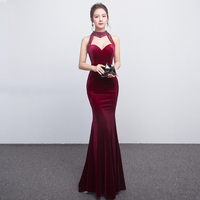 Sexy Backless Women Evening Prom Dress Elegant Full Length Mermaid Qipao Autumn Winter Velvet Cheongsam Wedding Vestidos S XXL