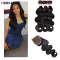 Rosa Hair Products With Closure 8A Brazilian Virgin Hair Body Wave With Closure Unprocessed Human Hair Bundles With Lace Closure