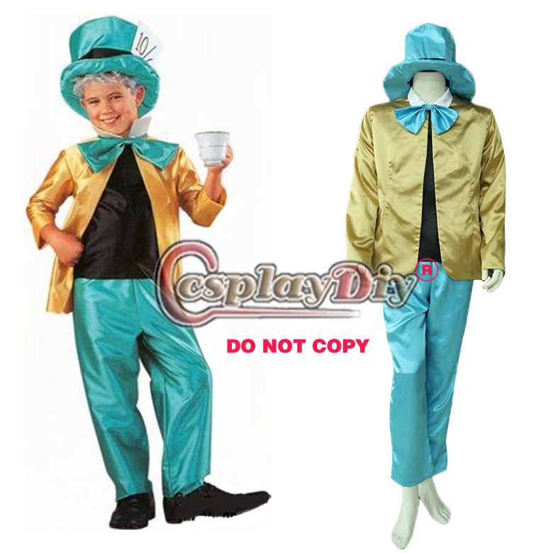 Alice in Wonderland Costume Mad Hatter Adult Men Uniform Halloween Cosplay Costume Custom Made D0528