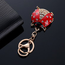 Lovely Rhinestone Insect ladybird beetle Keychain Key Chain Holder Bag Charm Car Keyring Jewelry Gifts For Women @C20
