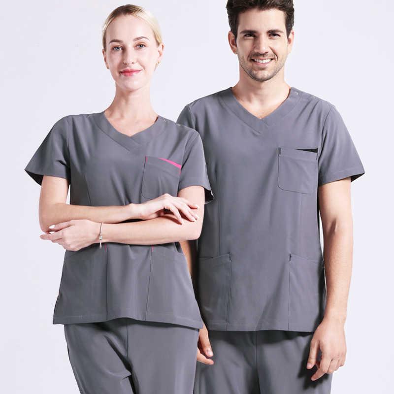 f10b4fee8ec Grey Infinity Unisex Nurse Uniforms Medical Scrubs Dentist Workwear Nursing  Uniforms Clothing V Neck Short Sleeve