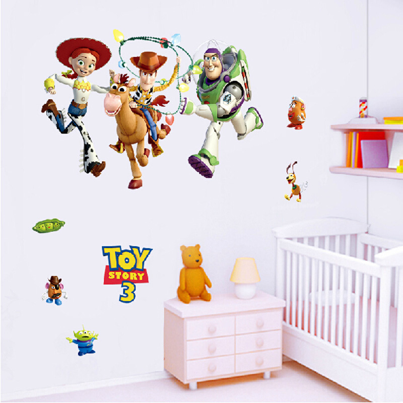 3d cartoon toy story 3 wall stickers home decor kids room for 3d room decoration game
