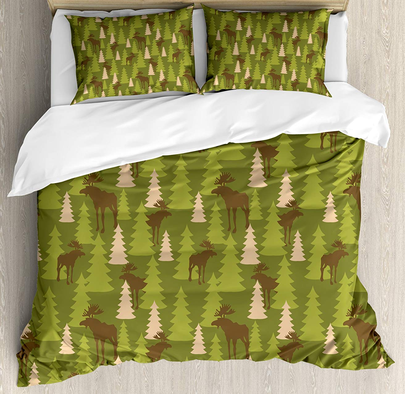 Deer Duvet Cover Set Animals in the Forrest Mooses and Pine Trees Pattern Canada Foliage Mammal Design 3 Piece Bedding SetDeer Duvet Cover Set Animals in the Forrest Mooses and Pine Trees Pattern Canada Foliage Mammal Design 3 Piece Bedding Set