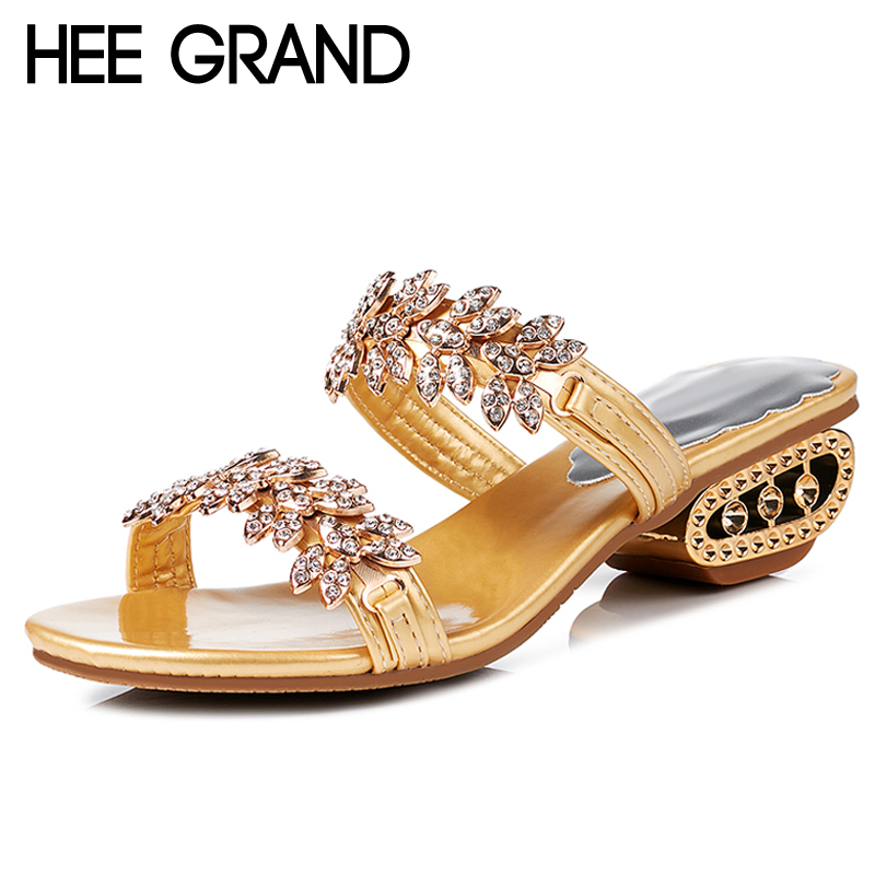 HEE GRAND Crystal Slides Casual Beach Slippers Platform Shoes Woman Slip On Gold Sliver Flats Creepers Women Shoes XWZ4737