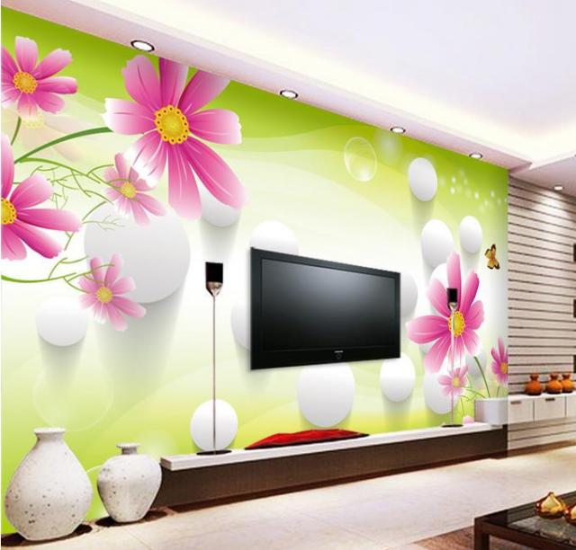 Stereoscopic Tv Mural Dinding Ruang Tamu Sofa Background Wallpaper Pemandangan Alam Musim Semi