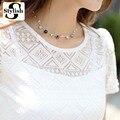 Blusa blanca de encaje de gasa de manga corta de verano de las mujeres tops 2016 nueva moda de corea ahueca hacia fuera camisa de las señoras de oficina femenina clothing