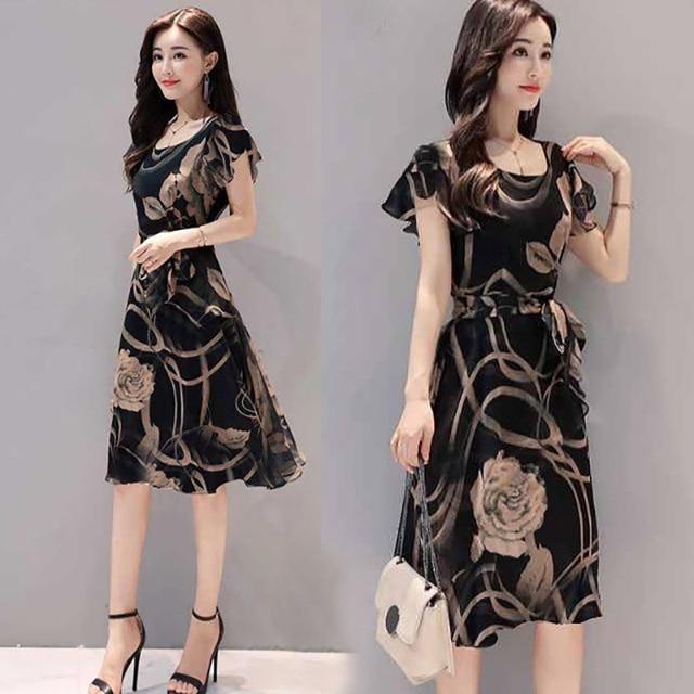 Plus Size Elegant Dresses Summer 2019 New Sexy O-Neck Ruffles Sleeve Floral Print Women's Dress Female Lady Casual Slim Sundress