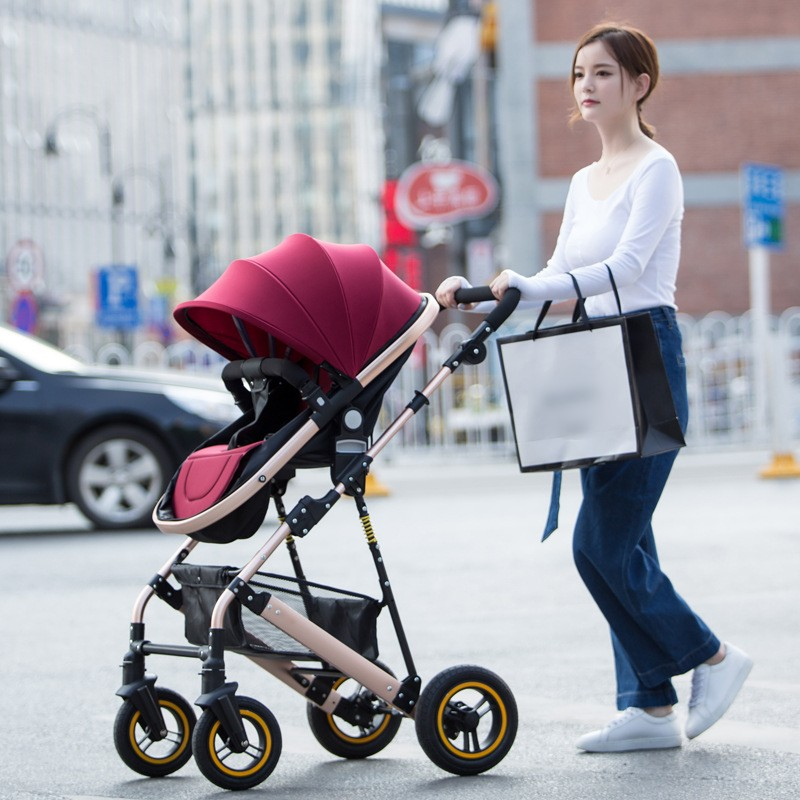 5 Colors Luxury Baby Stroller High Landscape Baby Carriage Newborn Infant Stroller Can Sit and Lie Four Wheels 2017 baby stroller pram folding baby carriage high landscape sit and lie for newborn infant four wheels children pushchair page 6