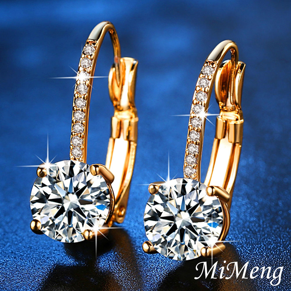 MiMeng Yellow Gold Color Clear Brilliant AAA Zircon Jewelry Fashion Earrings Clip for Women Engagement Jewelry Ladies Gifts