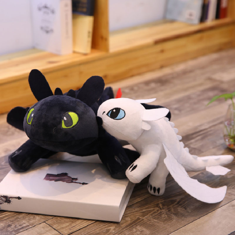 Hot 2019 Dragon 3 Plush Toy 35cm Toothless Light Fury/Night Fury Stuffed Doll Gift