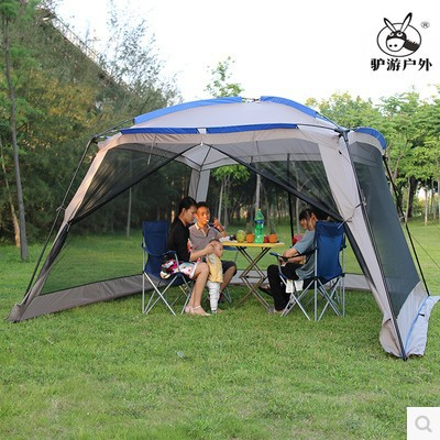 Large space Outdoor sun-shading tent/4Corners garden arbor/Multiplayer leisure party camping tent/Awning shelter anti-mosquito 5 8 person outdoor large camping tent anti ultraviolet awning tent folding fishing garden beach sun shelter 470 470 190 cm