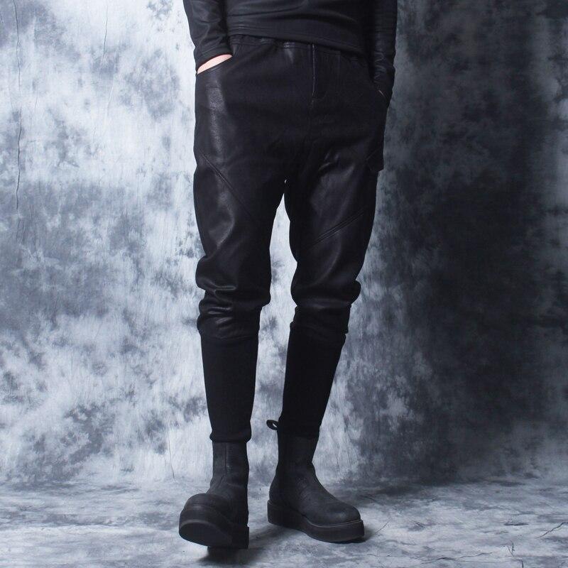 Зима 2018 новые мотоциклетные кожаные брюки мужские корейские версии tide плюс бархатные толстые ноги брюки мужские плотные брюки с заячьими у... - 5