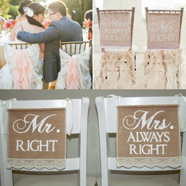 Wedding Banners Mr Mrs 2pcs Set Burlap Chair Sign Rustic Right Vintage Decoration For Groom