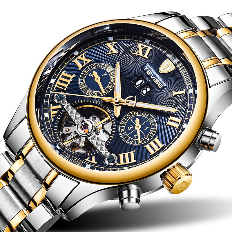 TEVISE Famous Busiiness Skeleton Automatic Mechanical Watch New 2107 Top Fashion Men Watches Male Clock Montre Relogio Masculino luxury tevise brands men s mechanical wristwatches automatic male watches fashion skeleton steel man watch relogio clock