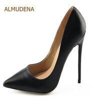 ALMUDENA Women Slip on Shallow Cut Dress Pumps Black Pointy Toe Stylish Dress Shoes Designer Plus Size Stiletto Heels Dropship