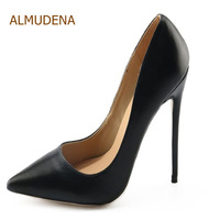 ALMUDENA Women Slip on Shallow Cut Dress Pumps Black Pointy Toe Stylish Dress Shoes Designer Plus Size Stiletto Heels Dropship