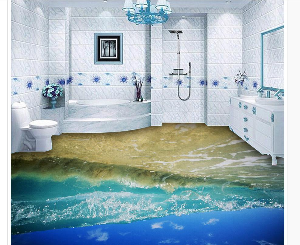 3d Painting Ocean Waves Floor Waterproof Wallpaper For