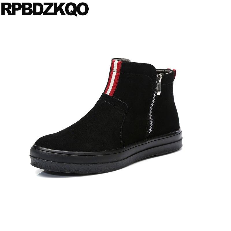 Stivaletti Alti sneakers in vera pelle sulla piattaforma stivali scarpe scamosciate batilions high top nero alta suola piatta da uomo ...